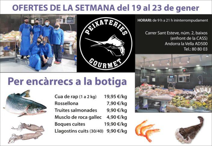 Ofertes de peix i marisc a Peixateries Gourmet del dia 19 al dia 23 de gener
