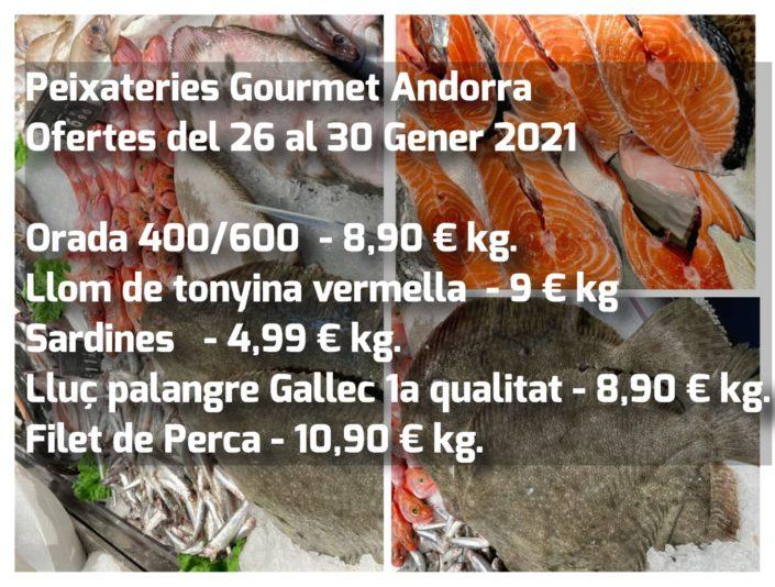 Ofertes de la setmana del 26 al 30 de gener del 2021 a Peixateries Gourmet Andorra peix i marisc fresc de màxima qualitat.