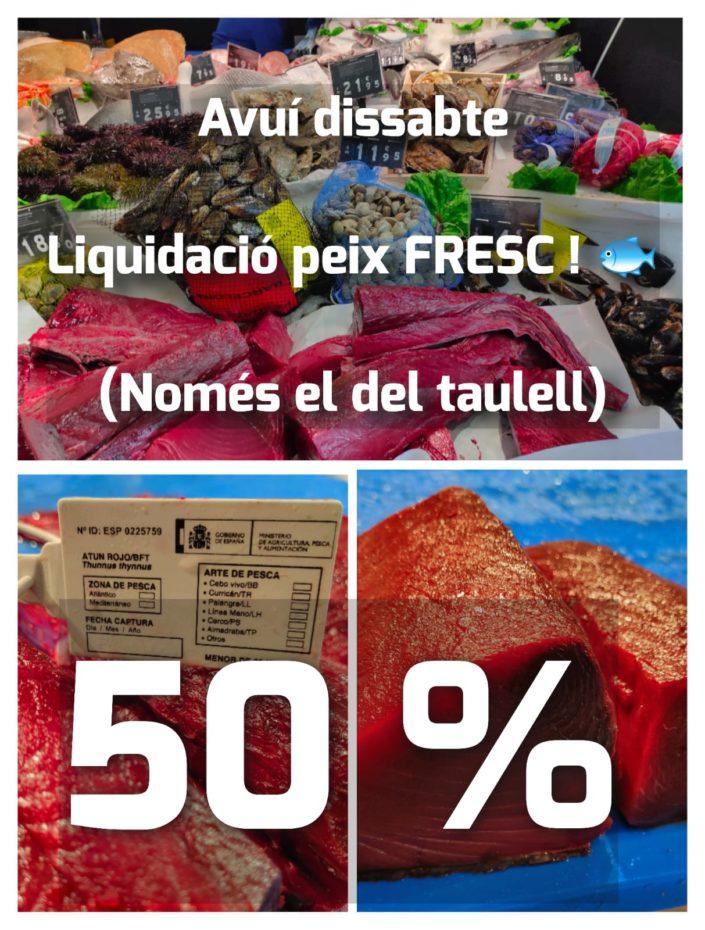 Avui dissabte 30 de Gener - 50% - Peixateries Gourmet. Liquidació peix FRESC! (Només el del taulell) 50% Descompte