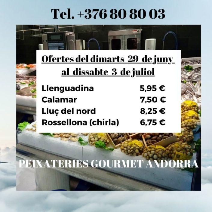 PEIXATERIES GOURMET ANDORRA - OFERTES DEL DIMARTS DIA 29 DE JUNY AL DISSABTE 03 DE JULIOL DEL 2021